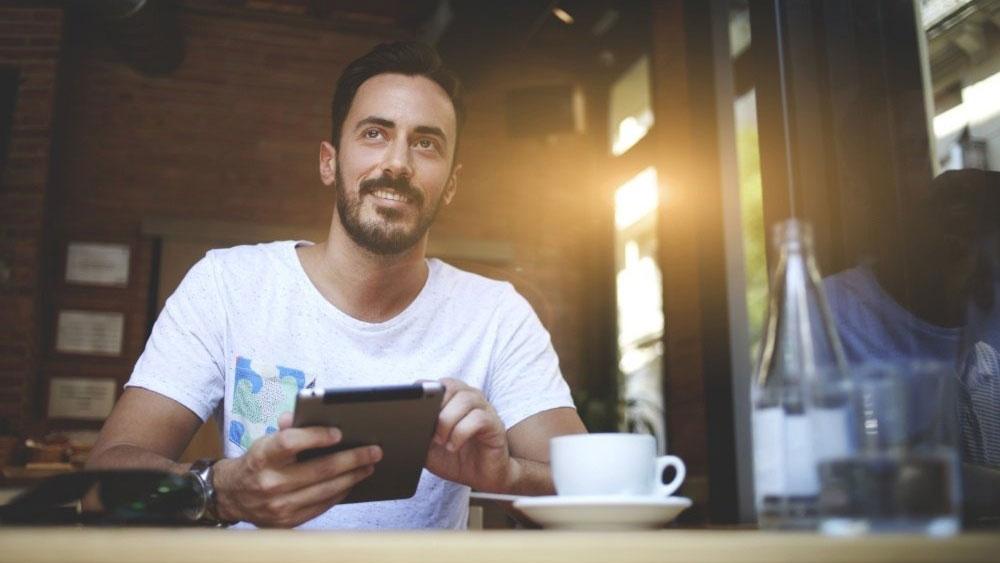 Man Mobilephone Advertising